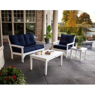 Vineyard 4 Piece Sunbrella Sofa Set with Cushions By POLYWOOD®