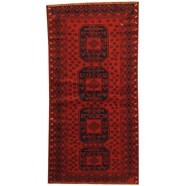 Prentice Tribal Balouchi Hand-Knotted Red/Navy Wool Area Rug by Isabelline