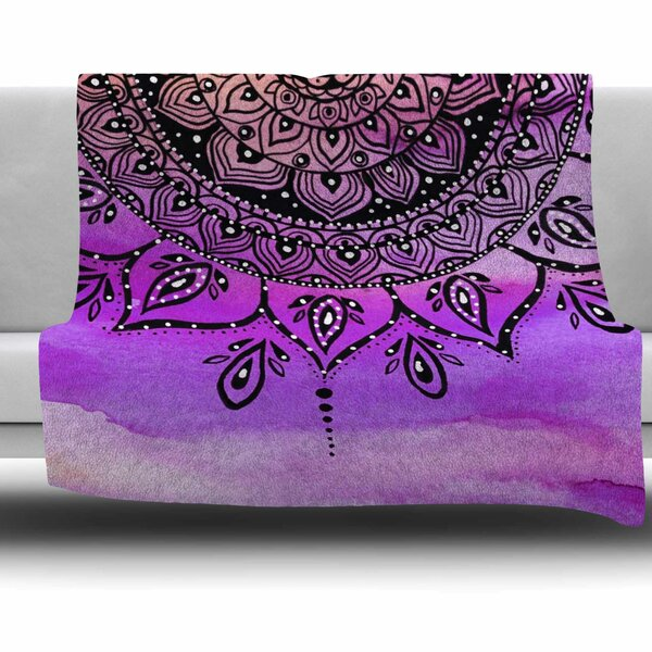 Lilac Mandala by Li Zamperini Fleece Blanket by East Urban Home