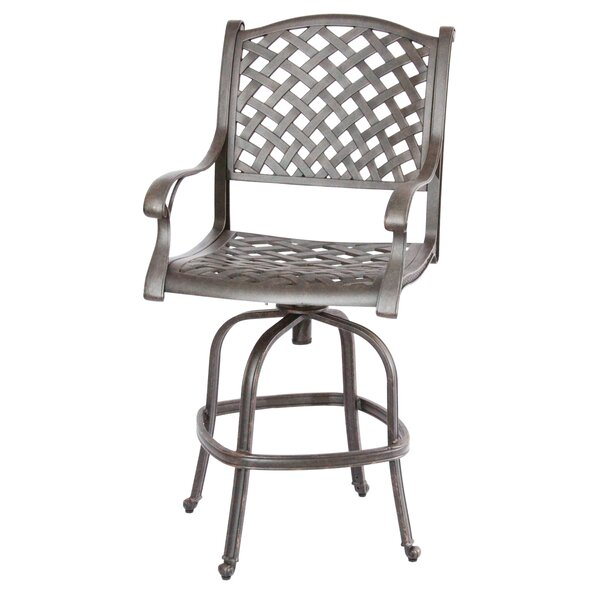 Lincolnville 30 Patio Bar Stool with Cushion by Fleur De Lis Living