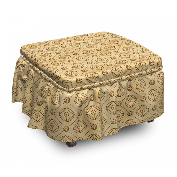 Diamond Shape Dots Ottoman Slipcover (Set Of 2) By East Urban Home