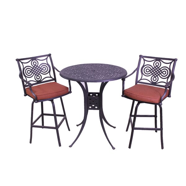 Laux 3 Piece Bar Height Dining Set with Sunbrella Cushions by Bloomsbury Market