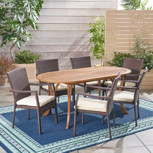 Wynsum Outdoor 7 Piece Dining Set with Cushions by Bungalow Rose