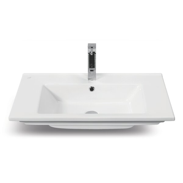 Arte Ceramic Rectangular Drop-In Bathroom Sink with Overflow by CeraStyle by Nameeks