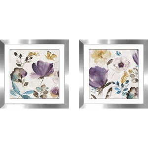 'Quixotic II' 2 Piece Framed Watercolor Painting Print Set by Alcott Hill