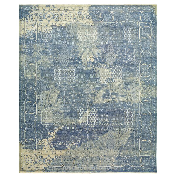 Attell Abstract Hand-Knotted Wool Blue Area Rug