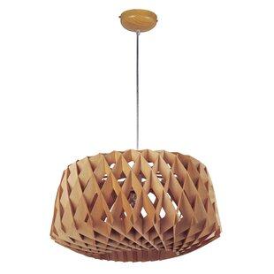 Modern wood bamboo pendant lighting melora 1 light drum pendant aloadofball Gallery