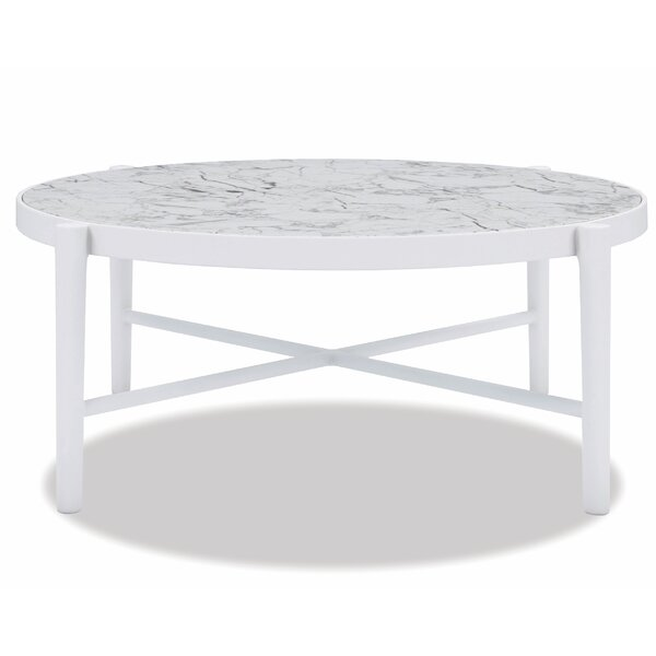 "Post Leg 40"" Round Coffee Table Frost Finish With Honed Carrara Top by Sunset West"