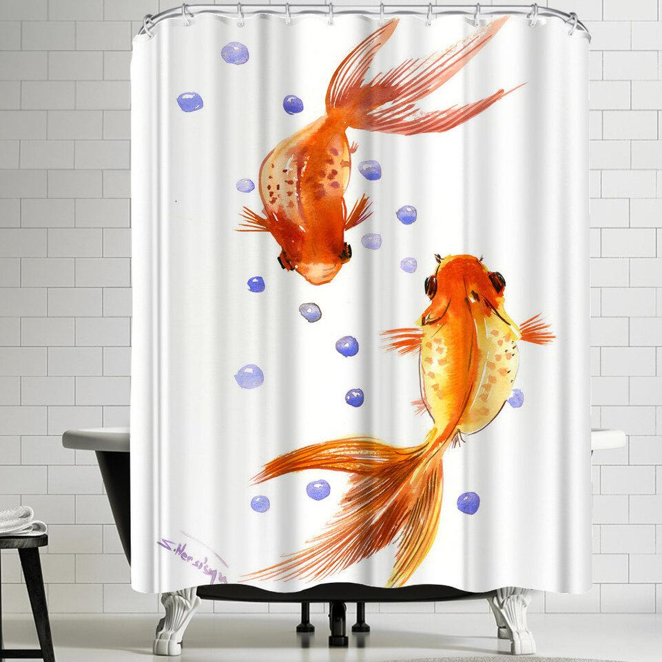 East Urban Home Suren Nersisyan Feng Shui Goldfish Koi 1 Shower Curtain