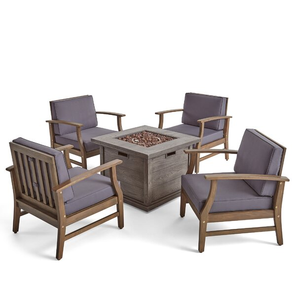 Cleghorn Outdoor 5 Piece Multiple Chairs Seating Group with Cushions by Union Rustic