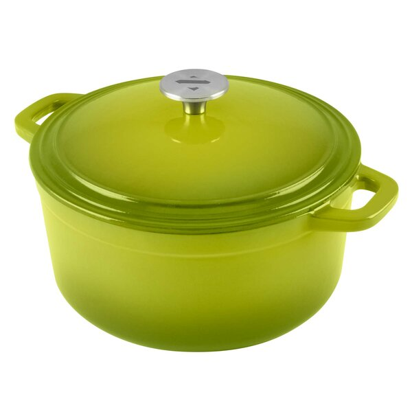 Zelancio 6 Qt. Cookware Enamel Covered Cooking Dish Cast Iron Round Dutch Oven with Skillet Lid by Winterial