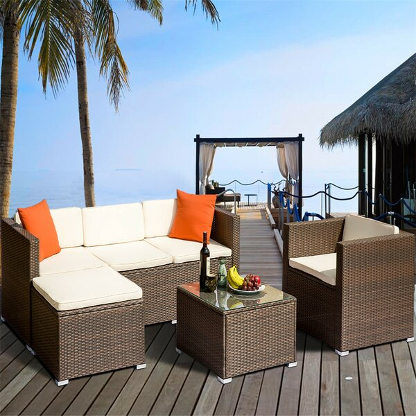 Allysin 4 Piece Rattan Sectional Seating Group with Cushions