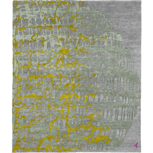 One-of-a-Kind Wrenly Hand-Knotted Tibetan Gray/Yellow 8' Square Wool Area Rug