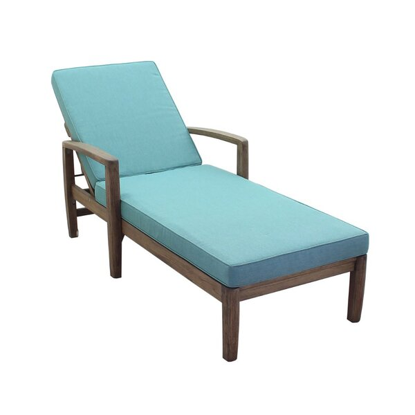 Shivers Courtyard Reclining Teak Chaise Lounge with Cushion