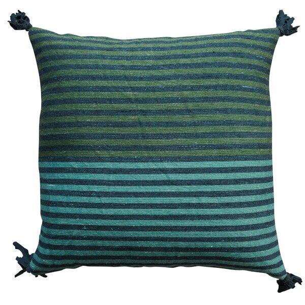Eddins Square Striped Wool Kilim Throw Pillow by Bungalow Rose