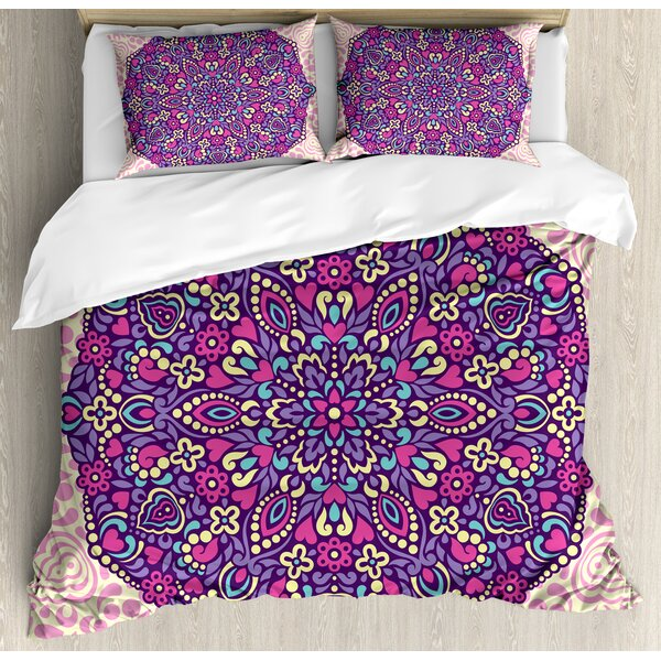 Abstract Floral Cosmos Icon Eastern Motif Petals Essence Theme Duvet Set by East Urban Home