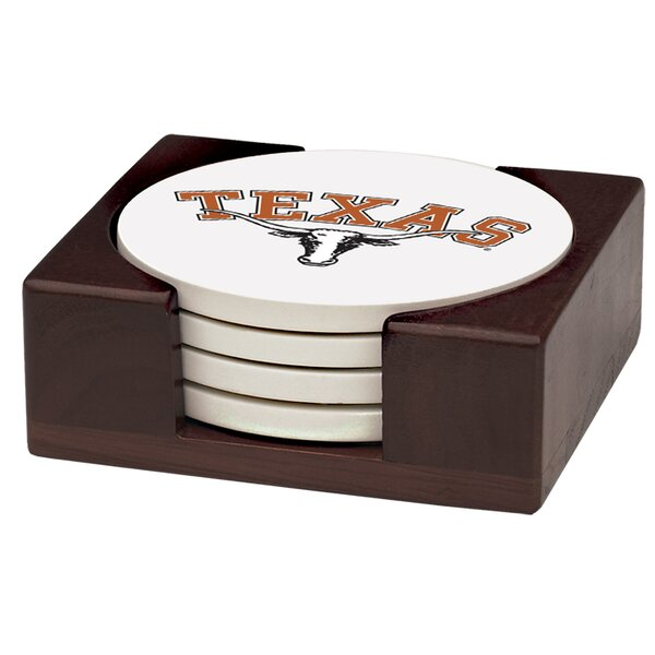 5 Piece University of Texas Wood Collegiate Coaster Gift Set by Thirstystone