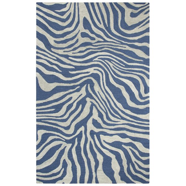 Harpreet Hand-Tufted Wool Gray/Navy Area Rug by Everly Quinn