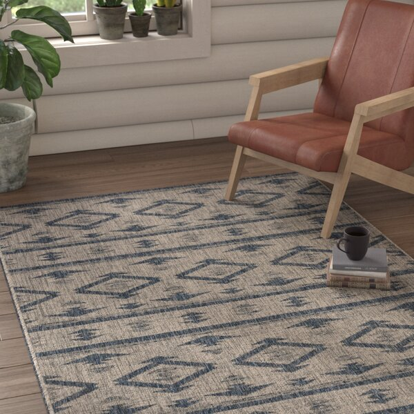 Mathes Gray/Navy Indoor/Outdoor Area Rug by Mistana