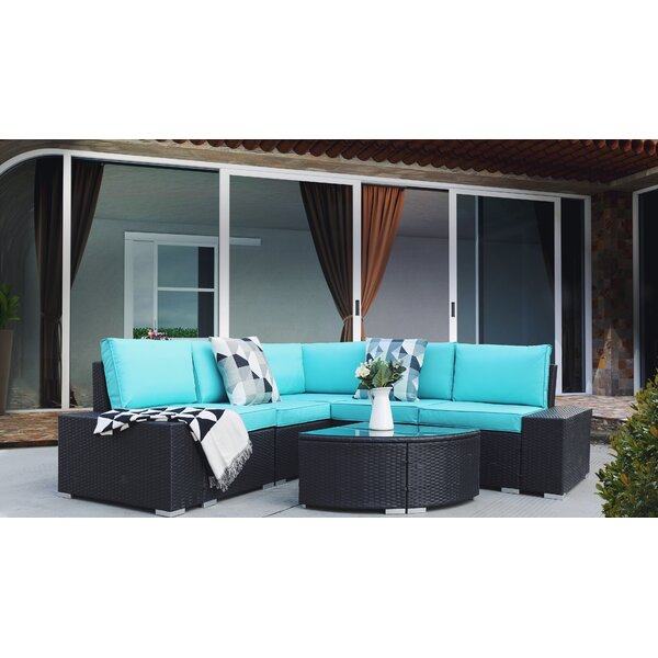 Alhia 6 Piece Rattan Sectional Seating Group with Cushions by Latitude Run