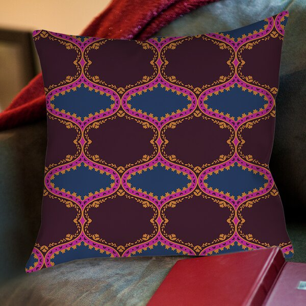 Bird Berries Folk Ogee Printed Throw Pillow by Manual Woodworkers & Weavers