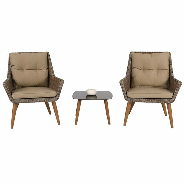 Birchfield Patio 3 Piece Rattan with Cushions by Bungalow Rose
