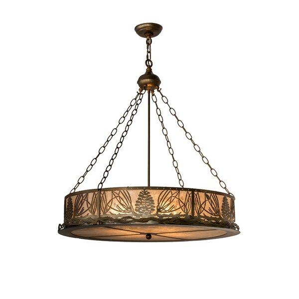 Mountain Pine 4 - Light Lantern Drum Chandelier by Meyda Tiffany Meyda Tiffany
