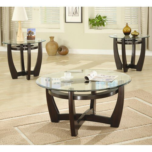 Exceptional High West 3 Piece Coffee Table With Glass Top Set Part 3