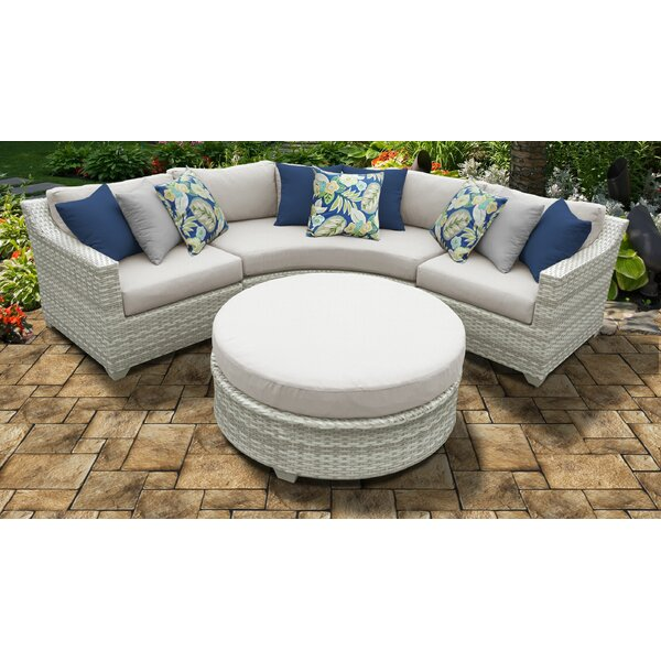Waterbury 4 Piece Rattan Sectional Seating Group with Cushions by Sol 72 Outdoor