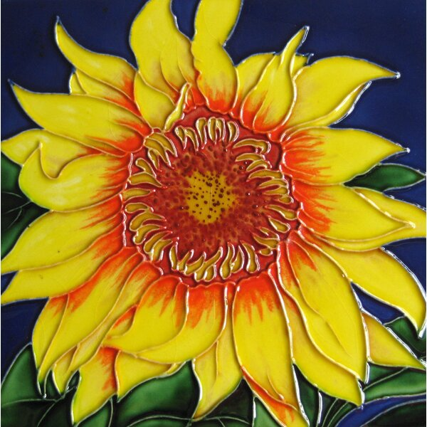 8 x 8 Ceramic Single Sunflower with Center Decorative Mural Tile by Continental Art Center