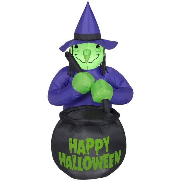 Witch with Caldron Happy Halloween Inflatable by The Holiday Aisle