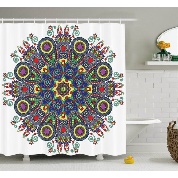 Gifford Chakra Embellished Mandala Circle With Indian Paisley Elements Cosmos Asian Zen Ritual Art Shower Curtain by Bungalow Rose