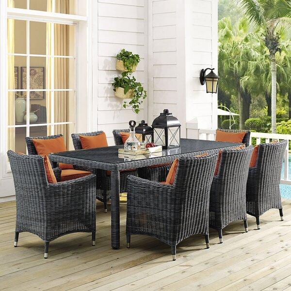 Keiran 9 Piece Dining Set with Sunbrella Cushions by Brayden Studio