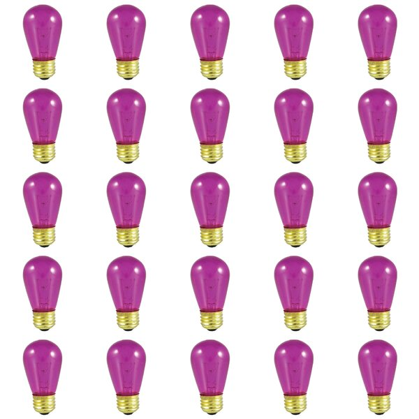 11W E26 Dimmable Incandescent Light Bulb Transparent Fuchsia (Set of 25) by Bulbrite Industries