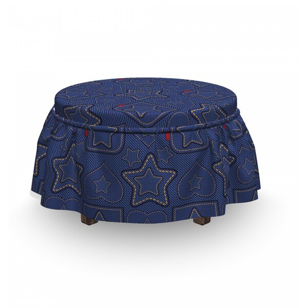 Heart Shapes On Denim Ottoman Slipcover (Set Of 2) By East Urban Home