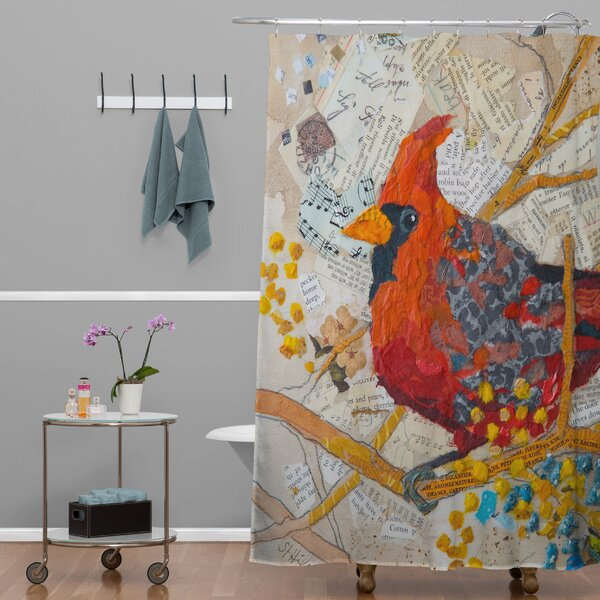 Elizabeth St Hilaire Nelson Cardinal On White Shower Curtain by Deny Designs