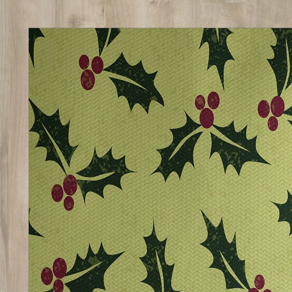 All Over Holly Floral Print Green Indoor/Outdoor Holiday Area Rug by Charlton Home