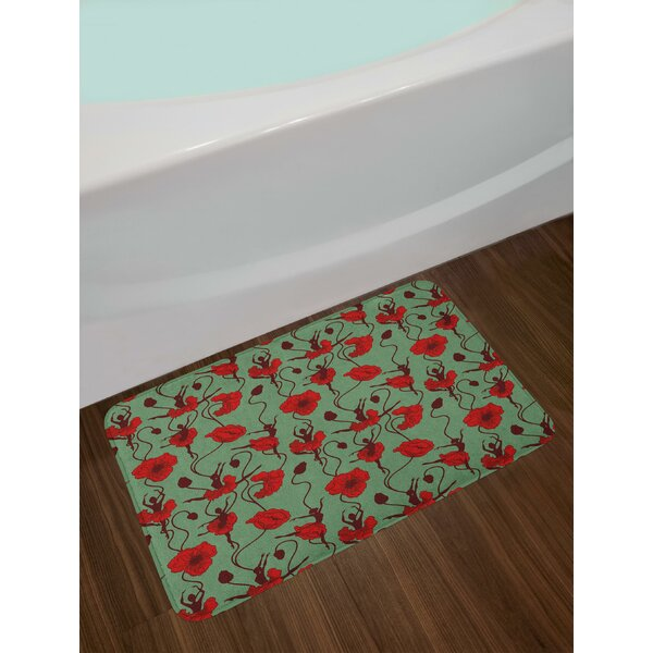 Floral Arrangement with Abstract Ballerina Dance Themed Botanical Print Bath Rug by East Urban Home