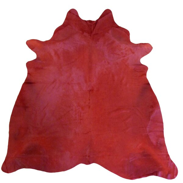 Extra Large Dyed Brazilian Cowhide Rich Red Area Rug by Chesterfield Leather