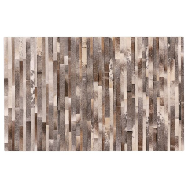 Natural Hide Hand-Tufted Cowhide Silver/Brown/Ivory Area Rug by Exquisite Rugs