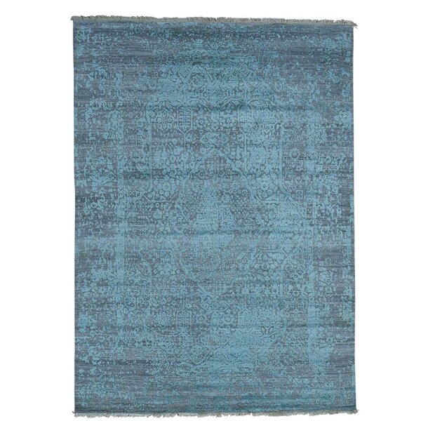 One-of-a-Kind Ebert Broken Oriental Hand-Knotted Silk Area Rug by Rosecliff Heights
