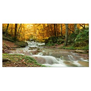'Forest Waterfall with Yellow Trees' Photographic Print on Wrapped Canvas by Design Art