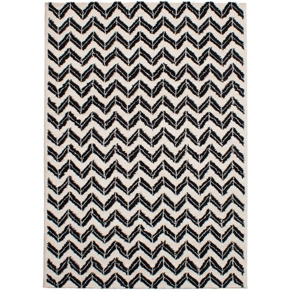 Freemont Soho Shag Black/Cream Area Rug by Brayden Studio
