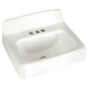 Best Review Lakewell Regalyn Ceramic 20 Wall Mount Bathroom Sink with Overflow By American Standard