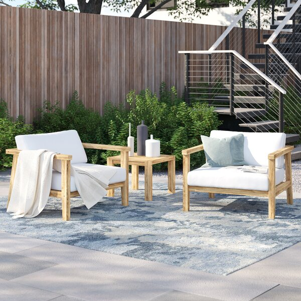 Annalese 3 Piece Teak Seating Group with Cushions by Foundstone