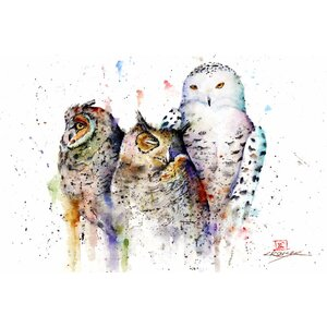 'Owls Don't Sleep' by Dean Crouser Painting Print on Wrapped Canvas by East Urban Home