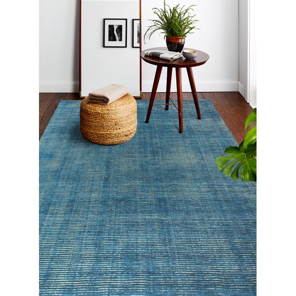 Fuller Contempo Soho Power Loom Wool Azure Area Rug by Rosecliff Heights
