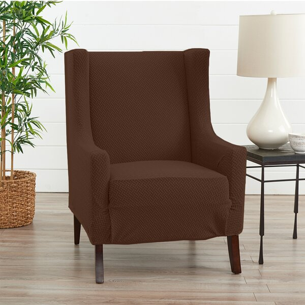 Review Harlowe Wingback Box Cushion Chair Slipcover