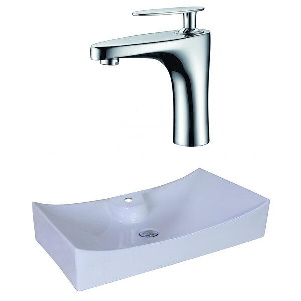 Ceramic Rectangular Vessel Single Hole Faucet Bathroom Sink with Faucet and Overflow