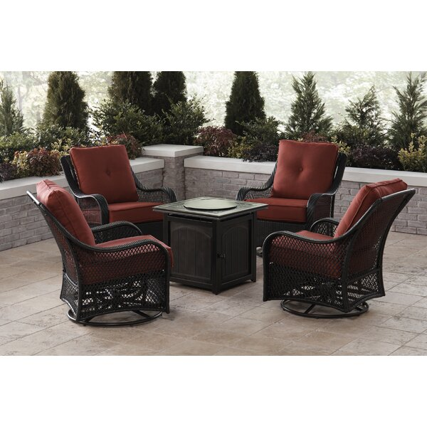 Innsbrook 5-Piece Fire Pit Chat Set in Autumn Berry with 4 Woven Swivel Gliders and a 26-In. Square Fire Pit Table by Alcott Hill
